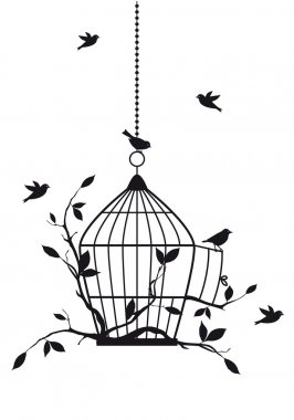 Free birds with open birdcage, vector background stock vector