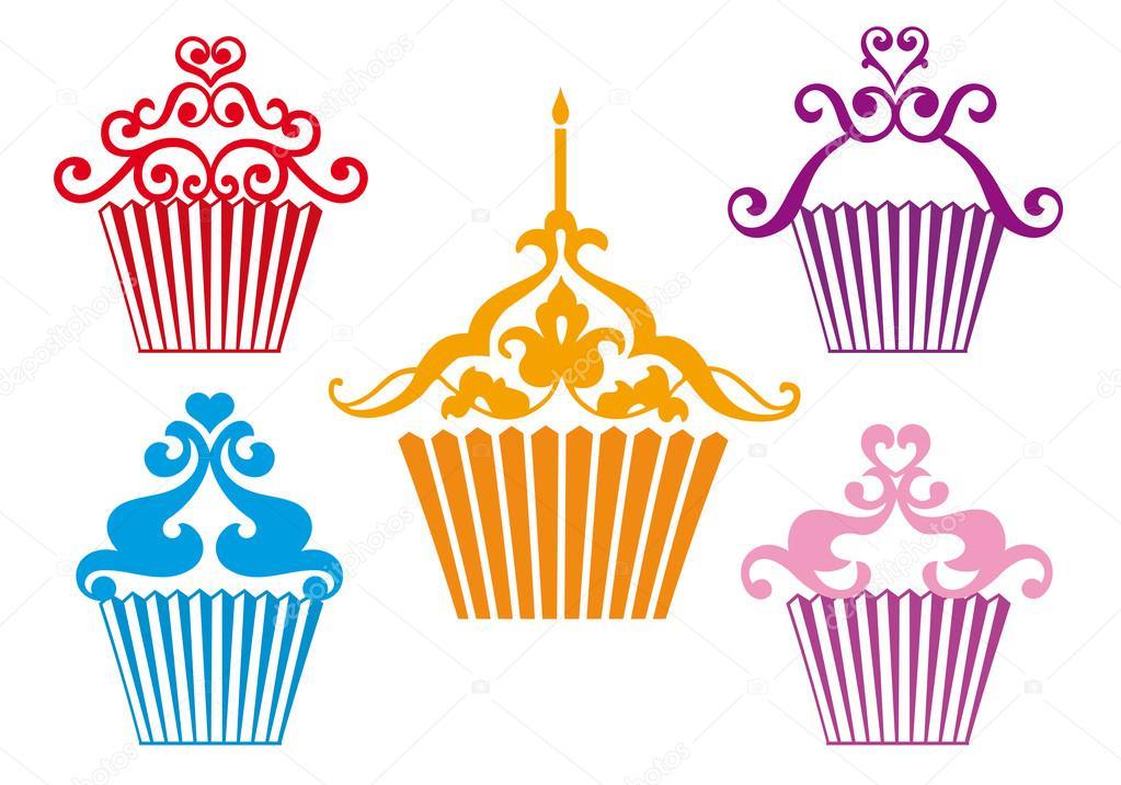 Disegni Di Cupcake Set Di Disegni Di Cupcake Vettoriale