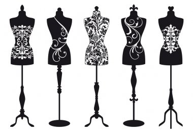 Set of stylish fashion dress forms, vector illustration stock vector