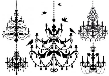 Chandelier set, vector