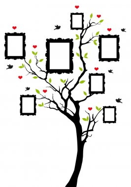 Family tree with frames, vector