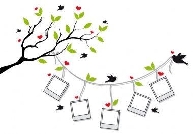Tree branch with blank photo frames and birds, vector background stock vector