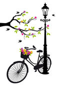 Fotografie Bicycle with lamp, flowers and tree, vector