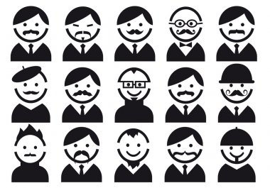 Heads with mustaches, vector set