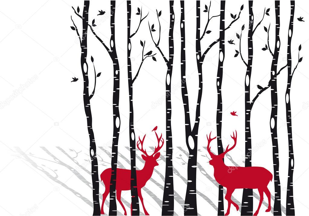 árboles de Navidad venados de abedul, vector — Archivo Imágenes ...