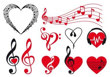 Music hearts, vector