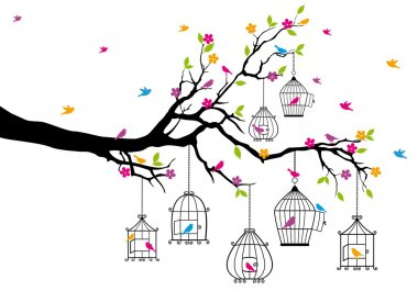 Tree branch with birds and birdcages, vector illustration stock vector