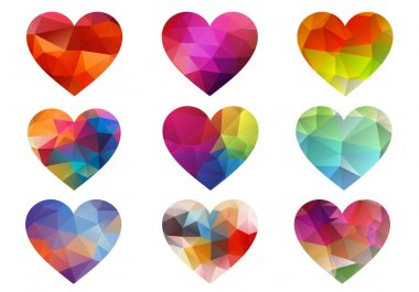 Colorful hearts with geometric pattern, vector
