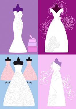 wedding dresses, bridal gowns, vector