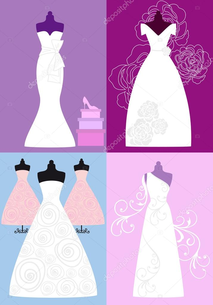 vestidos de novia, vestidos nupciales, vector — Vector de stock ...