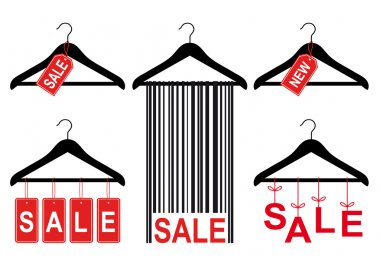 sale tags on clothes hanger, vector set