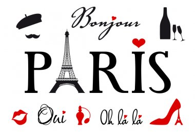 Paris with Eiffel tower, vector set