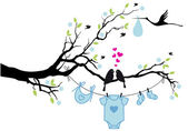 Photo baby boy with birds on tree, vector