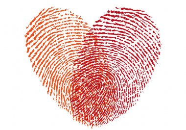 red fingerprint heart, vector
