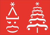Fotografie Santa and Christmas tree typographic signs, vector