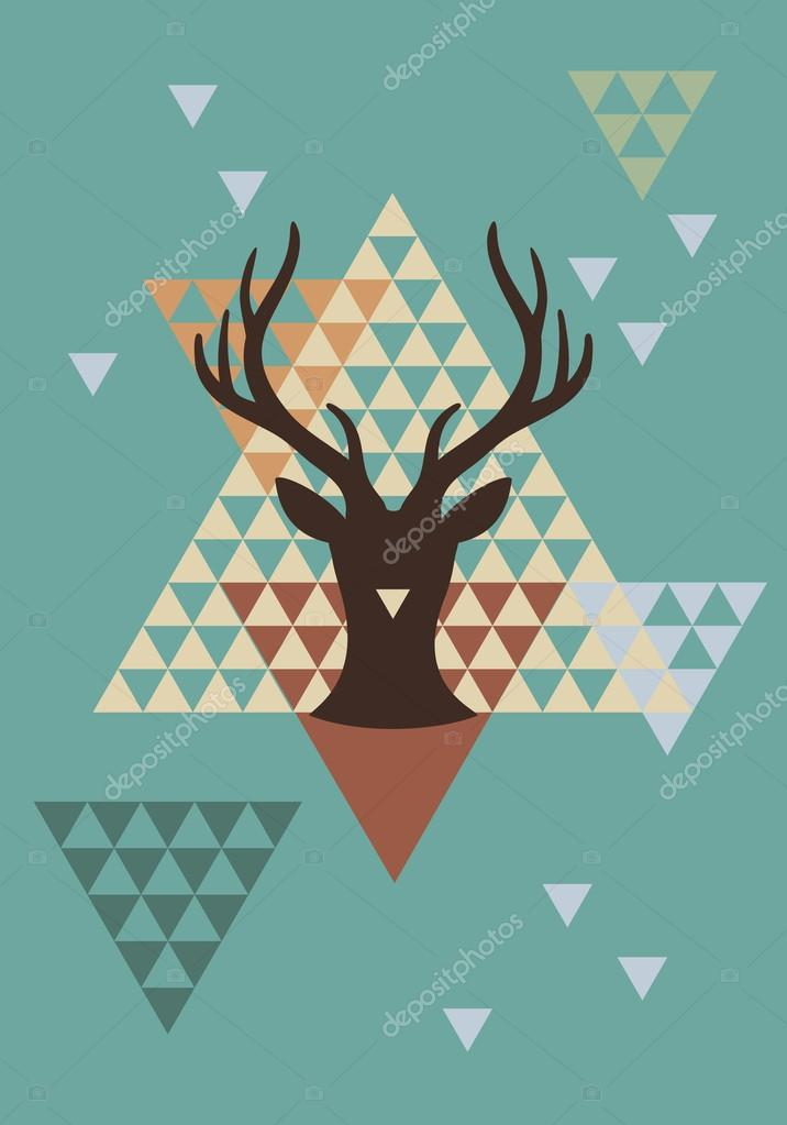 Christmas deer with triangle pattern, vector