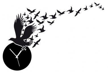 flying birds with clock, vector