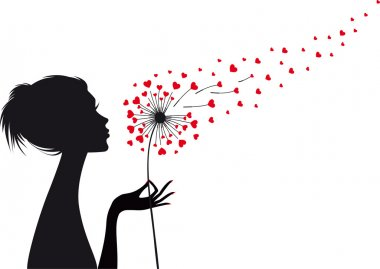 woman with heart dandelion, vector
