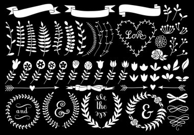 white floral laurel wreath, vector set