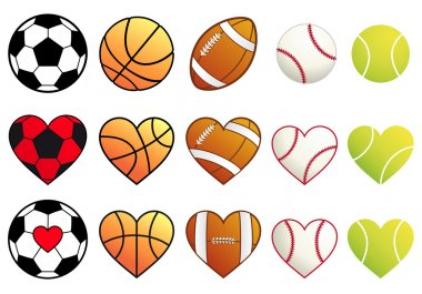 sport balls and hearts, vector set