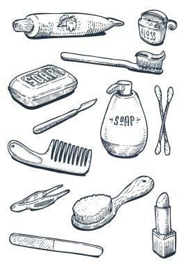 Set of hygiene and bathroom tools in vintage
