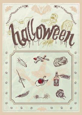 Halloween editable poster or menu in vintage stile
