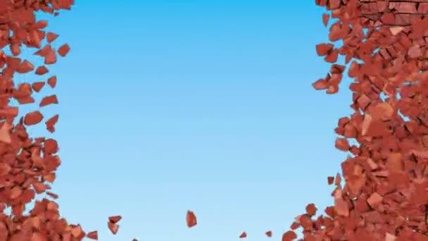 červená brickwall zničení nebo výbuchu s viditelným rázovou vlnou