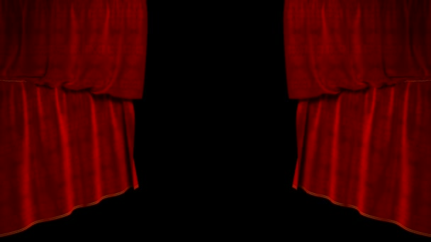 Curtain up, with beautiful cloth pattern  Alpha channel is included  You  can rewind the video and drop the curtain