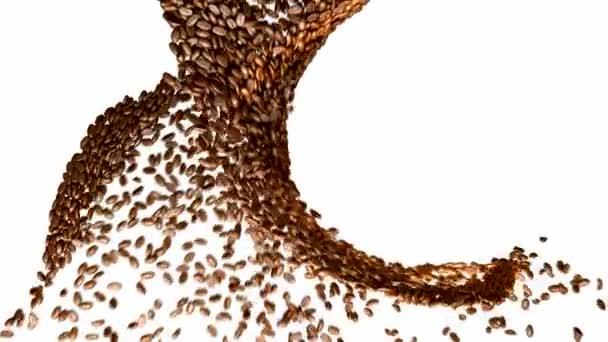 Kaffeebohnen-Wirbel mit Zeitlupe weiß