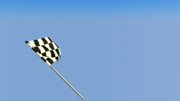 finitura - loopable sventolante bandiera a scacchi sopra cielo blu