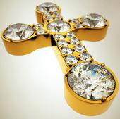 Weitwinkel-Ansicht des goldenen Kreuzes mit Diamanten