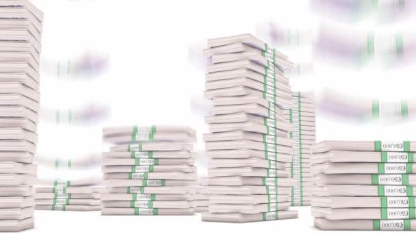 500 Euro bundles stacks falling down