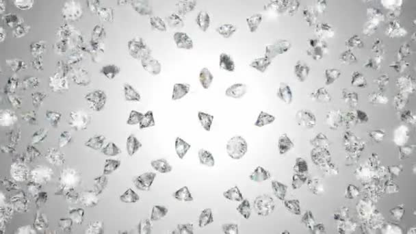 Diamonds heart shape assembling and exploding with slow motion
