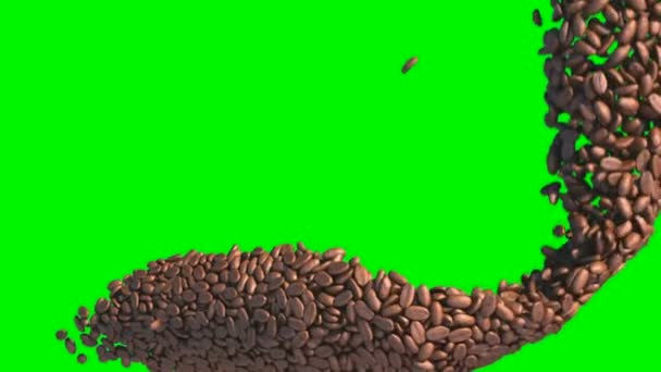 kávová zrna tok s zpomalené nad zeleným plátnem