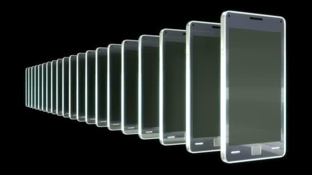 Kommunikation: Gruppe von Smartphones in einer Zeile