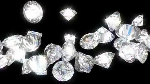 Loopable diamonds or gems flow with slow motion.