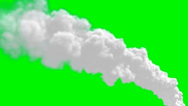 timelapse kouřových spalin komínem nad zeleným plátnem
