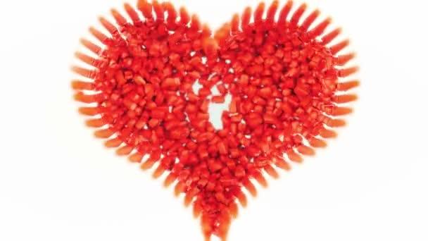 Sladká láska a Valentine: tvaru srdce červené bonbony