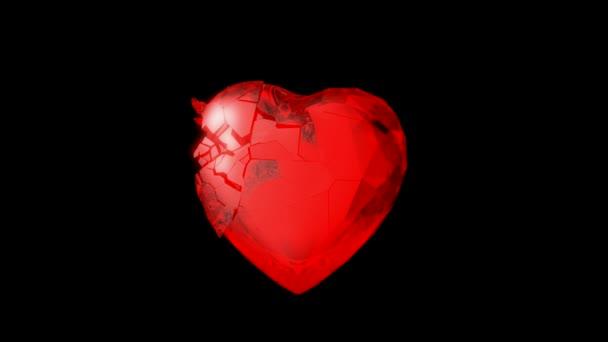 piros szív robbanás a lassú mozgás.