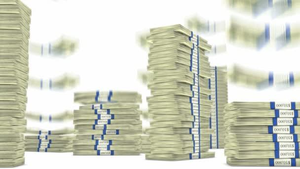 100 dolar svazky hromádky padají. bohatství a peníze