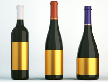 Three bottles for wine with blank golden labels