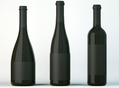 Three corked bottles for wine with black labels