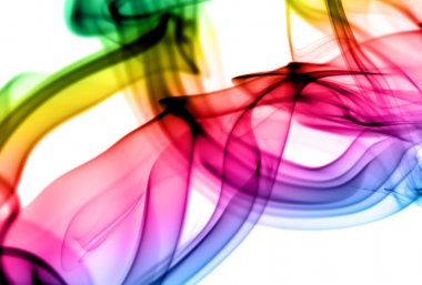 Abstract gradient fume patterns on white