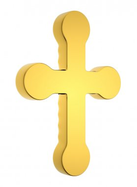 Jewelery and religion: golden cross isolated