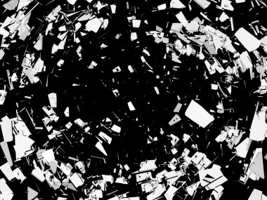 Accident: Pieces of broken glass over black