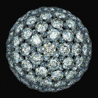 Diamonds or gemstones sphere isolated