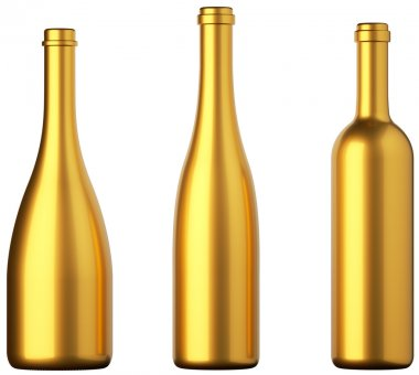 Three golden bottles for wine or beverages isolated