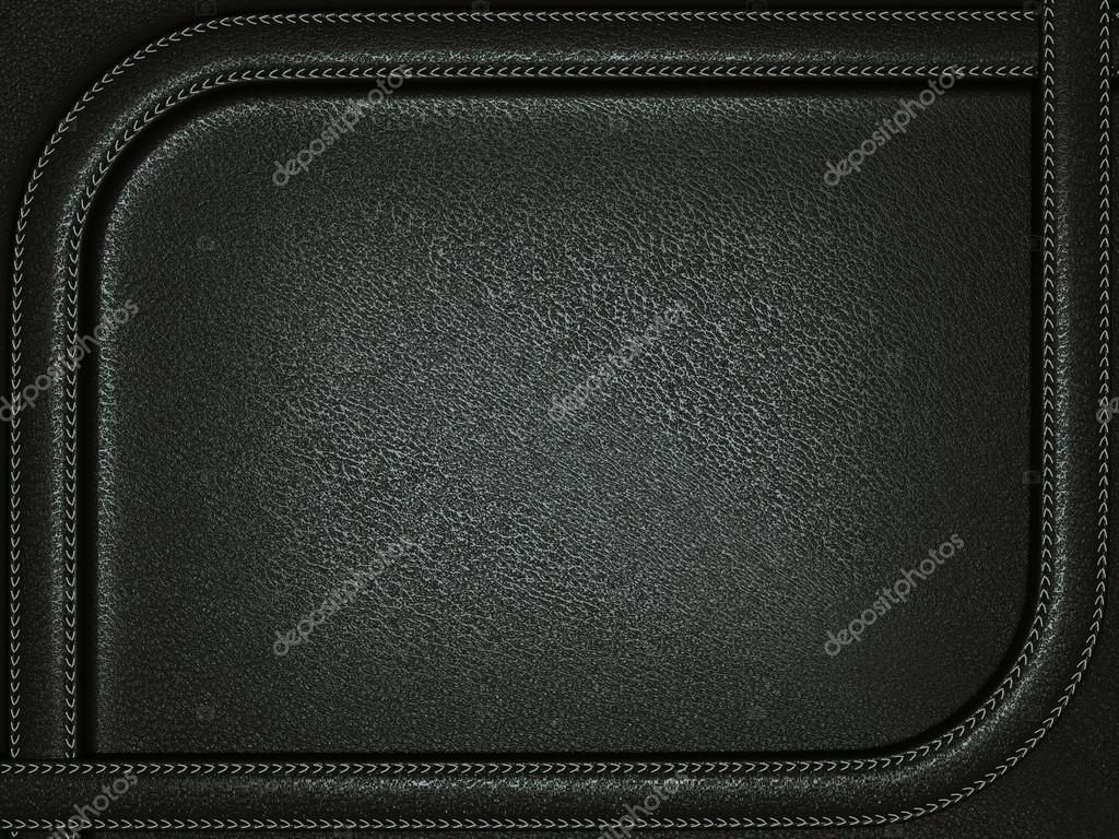 Fondo de cuero negro con costura marco redondeado — Foto de stock ...