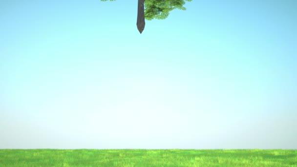 Fortuna: Albero astratto clover infila nel glade verde con i fiori