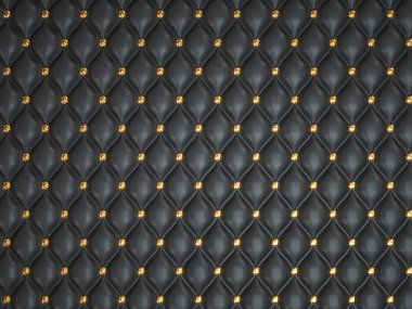 Black leather background with golden buttons